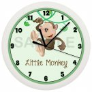 Personalized Green Monkey Wall Clock Nursery Bedroom Daycare Decor