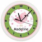 Pink and Green Song Bird Nursery Wall Clock
