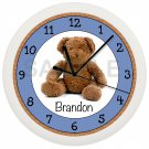 Personalized Brown and Blue Teddy Bear Wall Clock