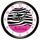Personalized Hot Pink and Black Zebra Print Wall Clock