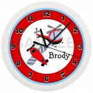 Personalized Blue and Red Helicopter Airplane Nursery Wall Clock