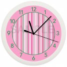 Pink and White Stripes Wall Clock