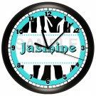 Personalized Teal Zebra Print Wall Clock