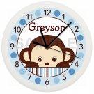 Personalized Blue Mod Monkey Nursery Wall Clock