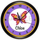 Butterfly Personalized Purple Wall Clock