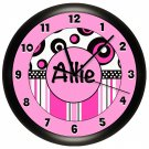 Hot Pink and Black Polka Dots Wall Clock