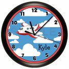 Airplane Nursery Personalized Blue and Red Wall Clock
