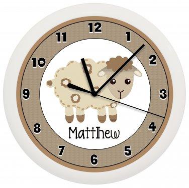 Personalized Sheep Lamb Nursery Wall Clock