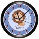 Personalized Blue Lion Nursery Wall Clock