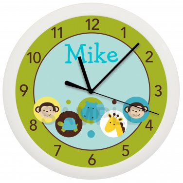 Personalized Green Dot Safari Jungle Nursery Wall Clock