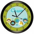 Personalized Dot Safari Jungle Nursery Wall Clock