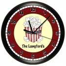 Personalized Movie Night Wall Clock Game Room Home Theater