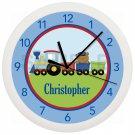 Personalized Blue Red Green Choo Choo Train Nursery Wall Clock