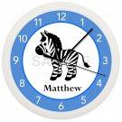 Blue and Black Zebra Nursery Wall Clock Personalized