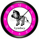 Hot Pink and Black Zebra Wall Clock