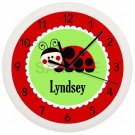 Personalized Ladybug Wall Clock Nursery Children's Bedroom