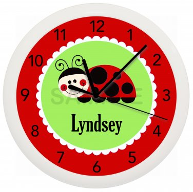 Personalized Ladybug Wall Clock Nursery Children's Bedroom