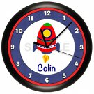 Personalized Spaceship Nursery Wall Clock