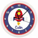 Personalized Spaceship Nursery Wall Clock