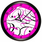 Pink and Black Swirls Wall Clock Girl's Bedroom Art