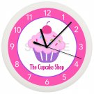 Personalized CUPCAKE Wall Clock Cafe Bakery Girls Bedroom Wall