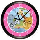 Safari Animal Nursery Wall Clock Children's Bedroom Art Decor