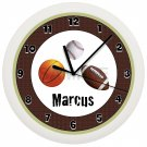 Personalized FOOTBALL Wall Clock Boys Bedroom Wall Art SPORTS TEAM NCAA