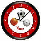 Basketball, Football, Baseball Sports Wall Clock
