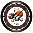 Basketball, Football, Baseball Sports Wall Clock