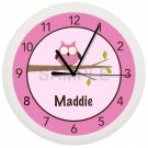 Personalized Pink OWL Wall Clock Girls Bedroom Wall Art