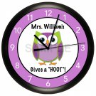 Gives a hoot Owl Teacher Wall Clock