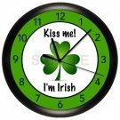 IRISH Wall Clock KISS ME I'M IRISH GREEN