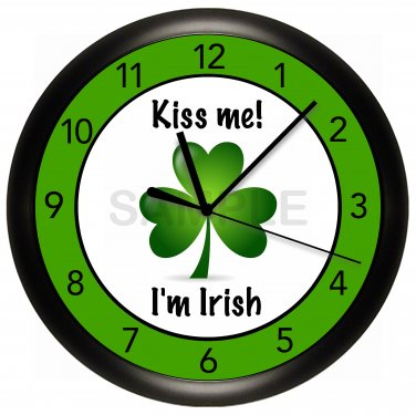 IRISH Wall Clock KISS ME I'M IRISH GREEN