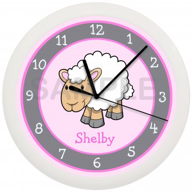 Personalized Pink Sheep Nursery Wall Clock