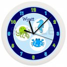 Bubbles Ocean Kids Line Blue and Green Wall Clock