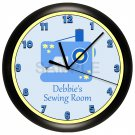 Personalized Yellow and Blue Ladies Sewing Room Wall Clock