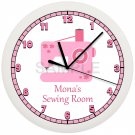 Pink Sewing Room Wall Clock Personalized