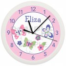 Personalized Pink Spring Butterfly Nursery Wall Clock