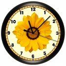 DECORATIVE YELLOW GERBER DAISY WALL CLOCK
