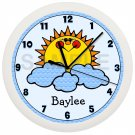 PERSONALIZED SUNSHINE GIRLS WALL CLOCK