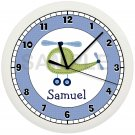 BLUE AND GREEN HELICOPTER WALL CLOCK PERSONALIZED GIFT NURSERY AVIATION BOYS