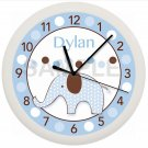 ELEPHANT NURSERY WALL CLOCK PERSONALIZED GIFT BLUE AND BROWN BOYS BEDROOM BABY
