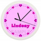 HOT PINK AND PURPLE HEARTS WALL CLOCK PERSONALIZED GIRLS BEDROOM GIFT