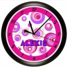 PINK AND PURPLE DOTS WALL CLOCK PERSONALIZED GIRL BEDROOM DECOR SWIRLS CIRCLES