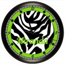 LIME GREEN AND BLACK ZEBRA PRINT WALL CLOCK PERSONALIZED GIRLS BEDROOM DECOR