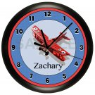 PERSONALIZED RED AND BLUE AIRPLANE WALL CLOCK BOYS ROOM NURSERY BEDROOM DECOR