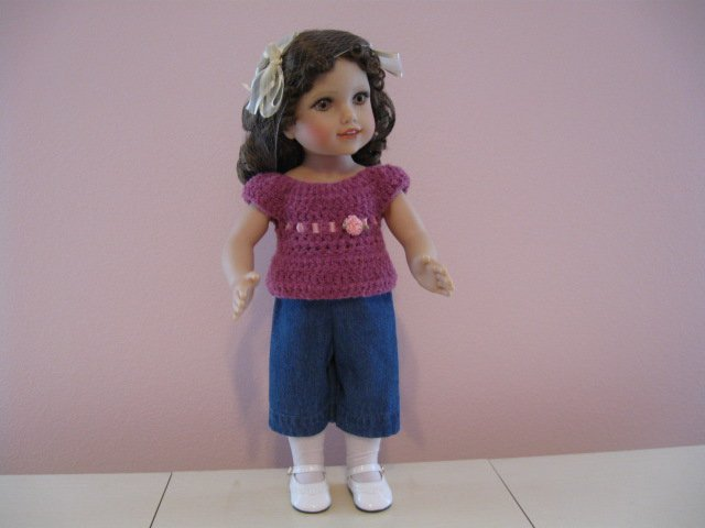 "AMERICAN GIRL 18"" DOLL CLOTHES DENIM CAPRIS MOLLY, KIT, EMILY, JULIE, IVY LIFE OF FAITH NEW"