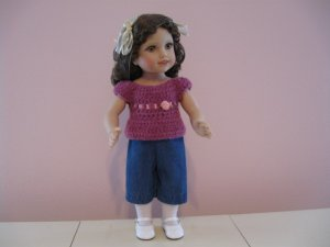 """AMERICAN GIRL 18"""" DOLL CLOTHES DENIM CAPRIS MOLLY, KIT, EMILY, JULIE, IVY LIFE OF FAITH NEW"""