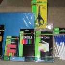 School Supplies: NEW folders, pencils, pens, colored pencils, ruler, scissors, erasers & book cover