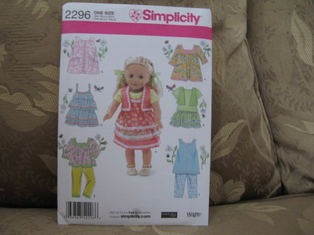 """Simplicity 2296 American Girl 18"""" Doll clothes sewing pattern NEW in envelope"""